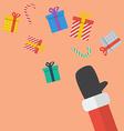 Santa Hand Throw Christmas Gift box vector image