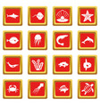 sea animals icons set red vector image vector image