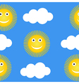 Seamless pattern with suns and clouds vector image vector image