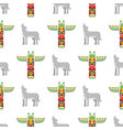 seamless pattern with tribal totem and wolf vector image vector image