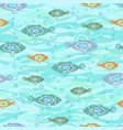 seamless texture with stylized fishes textiles vector image