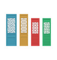 set of rectangle chinese door with pattern in flat vector image