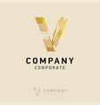 v company logo design with visiting card vector image