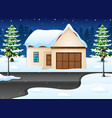 winter night landscape with vector image vector image