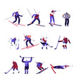 winter sport activities hockey freestyle vector image