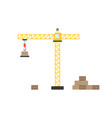 yellow construction tower crane with crane hook vector image