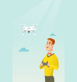 young caucasian man flying drone vector image vector image