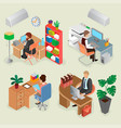 isometric office interiors and creative employees vector image