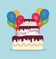 beauty cake wrap ribbon lettering balloons vector image