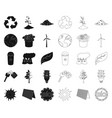 bio and ecology blackoutline icons in set vector image