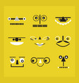 black and white cute funny geometrical faces icons vector image vector image