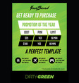 bold green pricing chart flyer or poster template vector image