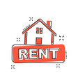 cartoon rent house icon in comic style home vector image