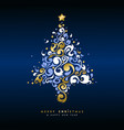 christmas and new year gold holiday tree card vector image vector image