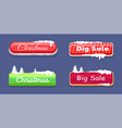 christmas big sale glossy web push buttons in snow vector image vector image