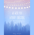 christmas card with forest and snowfall magical vector image vector image