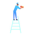 cleaner standing on the ladder and cleaning with vector image