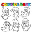 coloring book cute penguins 3 vector image vector image