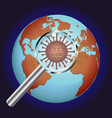 corona virus and magnifier on earth globe in space vector image