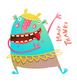 dancing showing cheerful cute monster for children vector image vector image