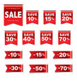 discount red labels set vector image