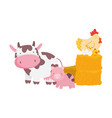 farm animals pig cow hen and eggs on hay cartoon vector image vector image