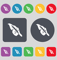 Feather icon sign A set of 12 colored buttons Flat vector image