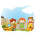Gardeners planting in the garden vector image