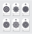 gift tags set with mandala ethnic round ornament vector image