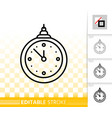 hanging clock simple black line icon vector image vector image