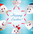 happy easter easter rabbit egg vector image vector image