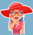 hat pop art sale cute surprised female girl woman vector image