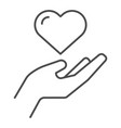 heart in hand thin line icon love in arm vector image