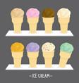ice cream cone scoop cartoon vector image vector image