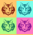 isolated muzzles of a tiger on colored backgrounds vector image