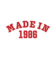 made in 1986 lettering year birth or a vector image vector image