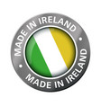 made in ireland flag metal icon vector image vector image