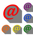 mail sign set of red orange yellow vector image vector image