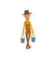 male farmer character with buckets cheerful vector image