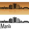 Manila skyline in orange vector image vector image