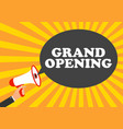 megaphone with speech bubble grand opening vector image vector image