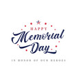 memorial day usa lettering inscription poster vector image vector image