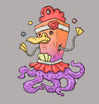 monster juggler half bird half octopus vector image
