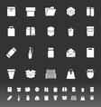 Package icons on gray background vector image