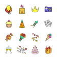 party icons set cartoon