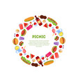 picnic round colored frame summer spring vector image