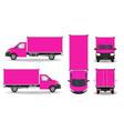 pink van set cargo van isolated on white pink vector image vector image