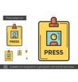 Press badge line icon vector image