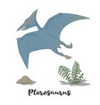 pterosaurus with plants and stone isolated vector image