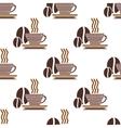 Repeat pattern of a cup of coffee and coffee beans vector image vector image